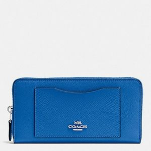 Coach Large Zip Around Wallet Blue